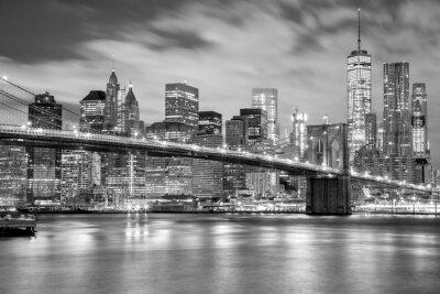 Naklejka Manhattan i Brooklyn Bridge czerni i bieli, Nowy Jork