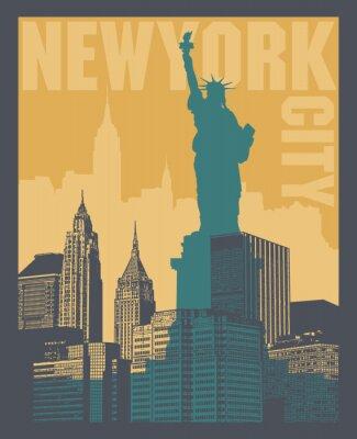 Naklejka Manhattan, Miasto Nowy Jork, sylwetki ilustracja