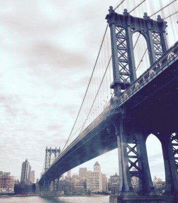 Naklejka Manhattan Most nad rzeką w stylu vintage, Nowym Jorku