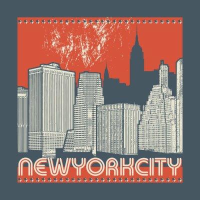 Naklejka Manhattan, Nowy Jork miasto, sylwetki ilustracja