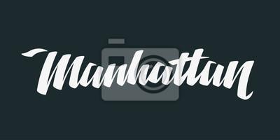 Manhattan Word Logo Ręcznie malowane Szczotka Szablon Logo Kaligrafii