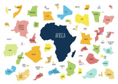 Naklejka Map of Africa with separated countries.