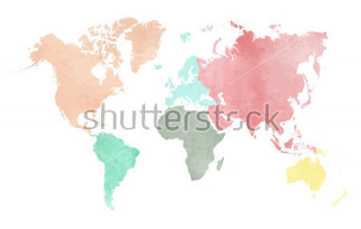 Naklejka Map of the continental world in watercolor in six different colors