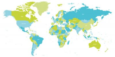 Naklejka Map of World in shades of green and blue. High detail political map with country names. Vector illustration