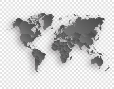 map of world with shadow on transparent background