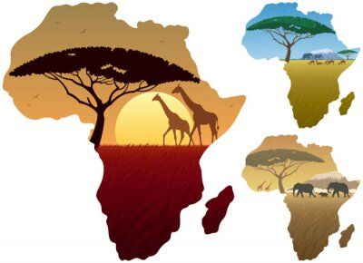 Naklejka Mapa Afryki Krajobrazy / Trzy afrykańskie krajobrazy mapie Afryki.