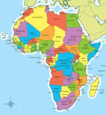 Naklejka Mapa Afryki z krajami i miastami