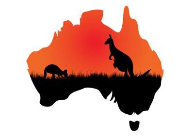 Naklejka Mapa Australii z kangaaroo