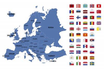 Naklejka Mapa Europy i flagi
