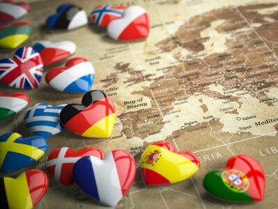 Naklejka Mapa Europy i serca z flagami krajów europejskich. Trave