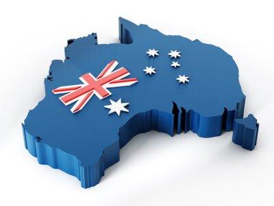 Naklejka Mapa i flaga Australii