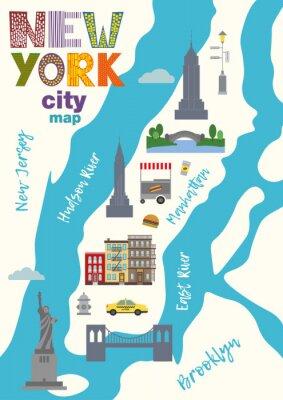 Naklejka Mapa miasta Manhattanu w Nowym Jorku