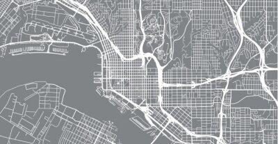 Naklejka Mapa miasta wektor miejski San Diego, Kalifornia, Stany Zjednoczone Ameryki