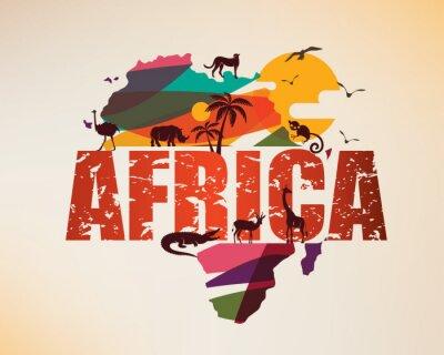 Naklejka Mapa podróży Afryki, dekoracyjny symbol kontynentu afrykańskiego z sylwetkami dzikich zwierząt