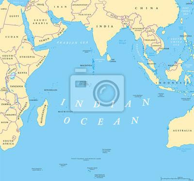Naklejka Mapa polityczna na Oceanie Indyjskim. Kraje i granice. Trzecim co do wielkości oceanicznym podziale na kraje Afryki, Azji, Antarktyki i Australii. Nazwany po Indiach. Ilustracja. Etykietowanie w język
