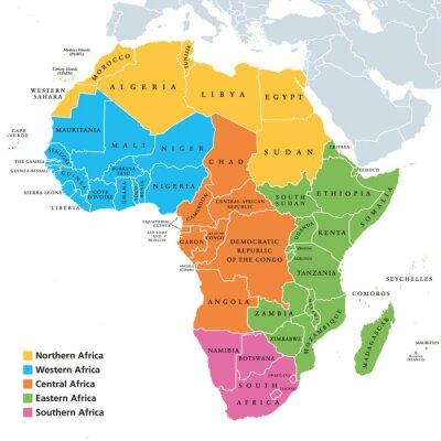 Naklejka Mapa regionów Afryki z pojedynczymi krajami. Geoscheme Narodów Zjednoczonych. Północna, Zachodnia, Środkowa, Wschodnia i Południowa Afryka w różnych kolorach. Etykietowanie w języku angielskim. Ilustr