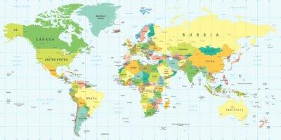 Naklejka Mapa świata - bardzo szczegółowe ilustracji wektorowych.