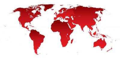 Naklejka Mapa świata czerwone kontynenty