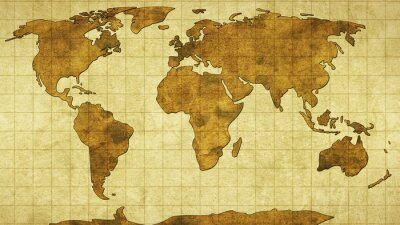 Naklejka Mapa świata na starym papierze