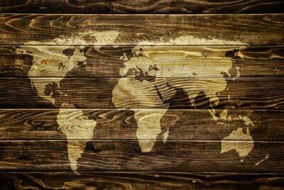 Naklejka Mapa świata na tle drewna