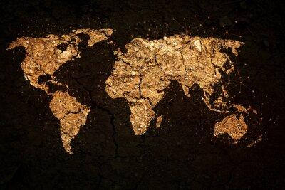 Naklejka Mapa świata na tle grunge
