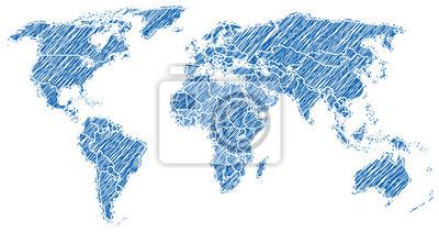 Mapa świata niebieski szkic
