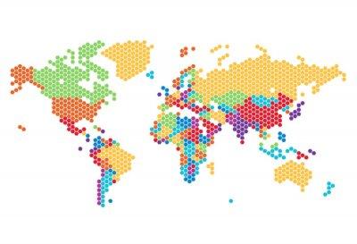 Naklejka Mapa świata przerywana sześciokątnych kropek