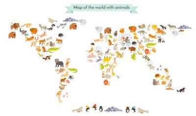 Naklejka Mapa świata ssaków sylwetki. Zwierzęta mapa świata. Pojedynczo na białym tle ilustracji wektorowych. Kolorowe animowanych ilustracji dla dzieci i innych osób. Edukacja