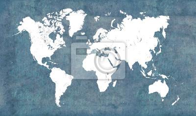 Naklejka Mapa świata, vintage