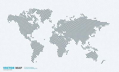 Naklejka Mapa świata wektorowe z rundy, plamy, kropek dla szablonów biznesowych