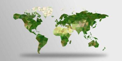 Naklejka Mapa świata wielokątów