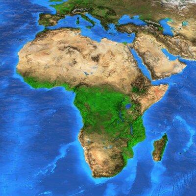 Naklejka Mapa świata wysokiej rozdzielczości koncentruje się na Afryce