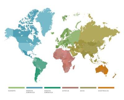 Naklejka Mapa świata z kontynentem w innym kolorze