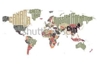 Naklejka Mapa świata z nazwami krajów typograficznych. Ilustracji wektorowych.
