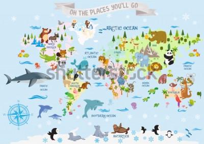 Naklejka Mapa świata ze zwierzętami / Och, miejsca, do których pojedziesz