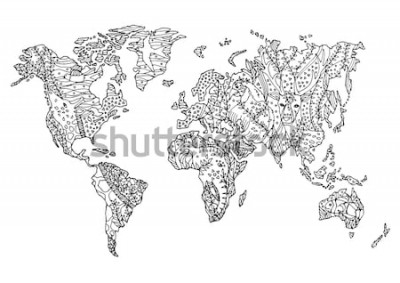 Naklejka mapa świata zwierząt dzikiej przyrody kwiat kwiatowy rysunek projekt ilustracji wektorowych ręcznie rysowane