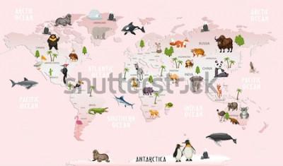 Naklejka mapa świata zwierzęta na tapetę do pokoju dziecięcego