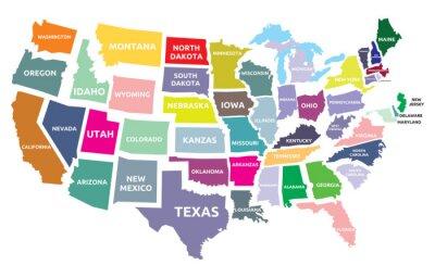 Naklejka Mapa USA z państwami