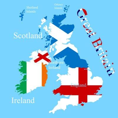 Naklejka Mapa Wielkiej Brytanii dla każdego flagę kraju