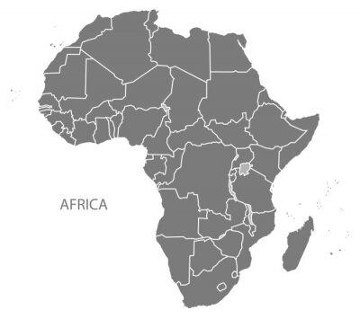 Naklejka Mapa z krajami Afryki szarych