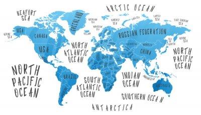 Naklejka Mapa Ziemi z nazwami krajów