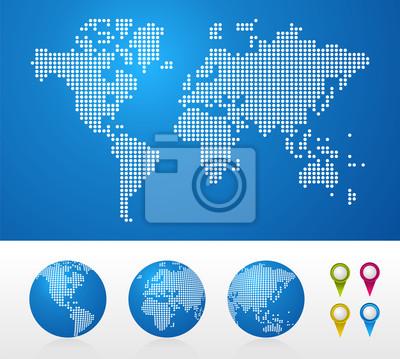 Mapy wykropkowane Świat i globusy