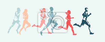 Naklejka Marathon run. Group of running people, men and women. Isolated vector silhouettes