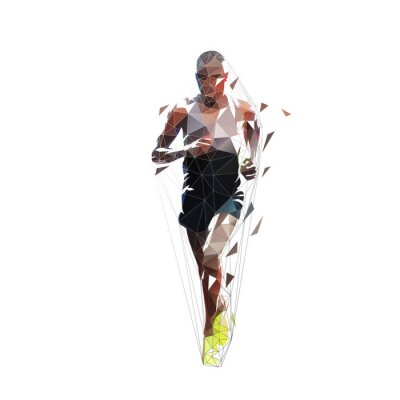 Marathon runner, low polygonal isolated vector illustration, front view. Geometric african american running athlete