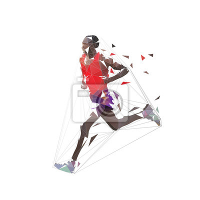 Marathon runner, low polygonal isolated vector illustration, side view. Geometric african american running athlete