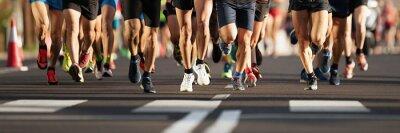 Naklejka Maratończycy biegający po drogach miejskich, duża grupa biegaczy