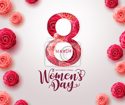 Naklejka March 8 women's day design. Women's day vector concept design for international woman celebration with camellia flowers background. Vector illustration