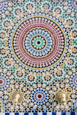 Naklejka Marokański styl kranu wody ze szczegółowymi mozaiki