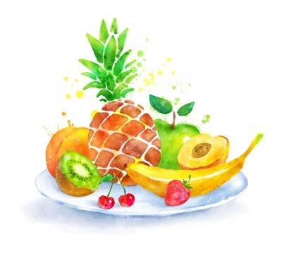 Naklejka Martwa natura z owocami na talerzu.