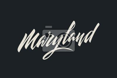 Maryland City USA Państwo Słowo Logo Nazwa Ręcznie malowane Szczotka Szablon Logo Kaligrafia Szablon